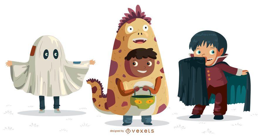 Conjunto de personajes de niños de Halloween