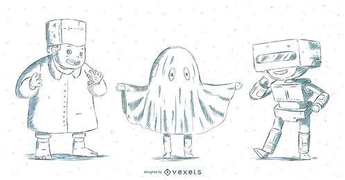 Crianças Halloween mão desenhado conjunto