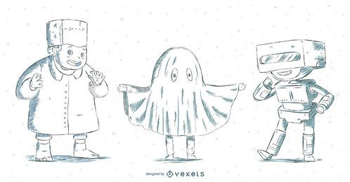 Set de Halloween niños dibujados a mano