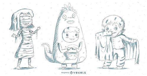 Conjunto de trajes de criança desenhada de mão