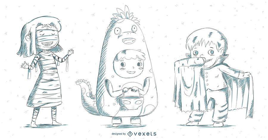 Conjunto de disfraces infantiles dibujados a mano