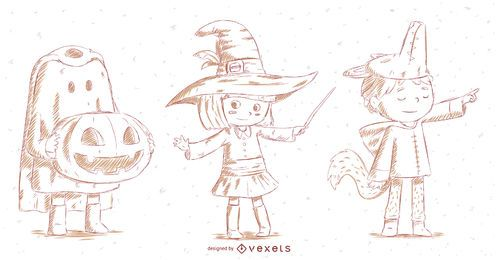 Conjunto de caracteres desenhados mão de Halloween