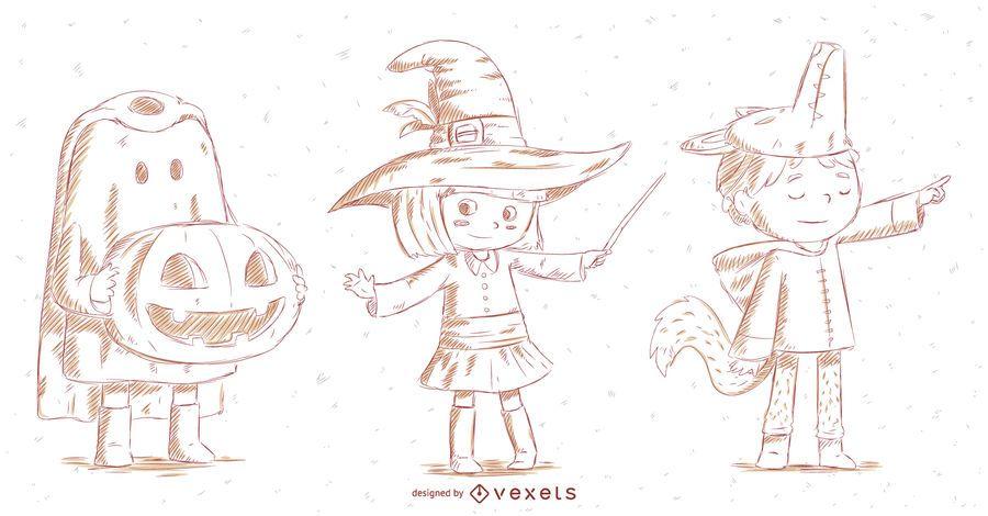Conjunto de caracteres dibujados a mano de Halloween