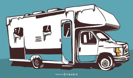 Snow RV Illustration Design