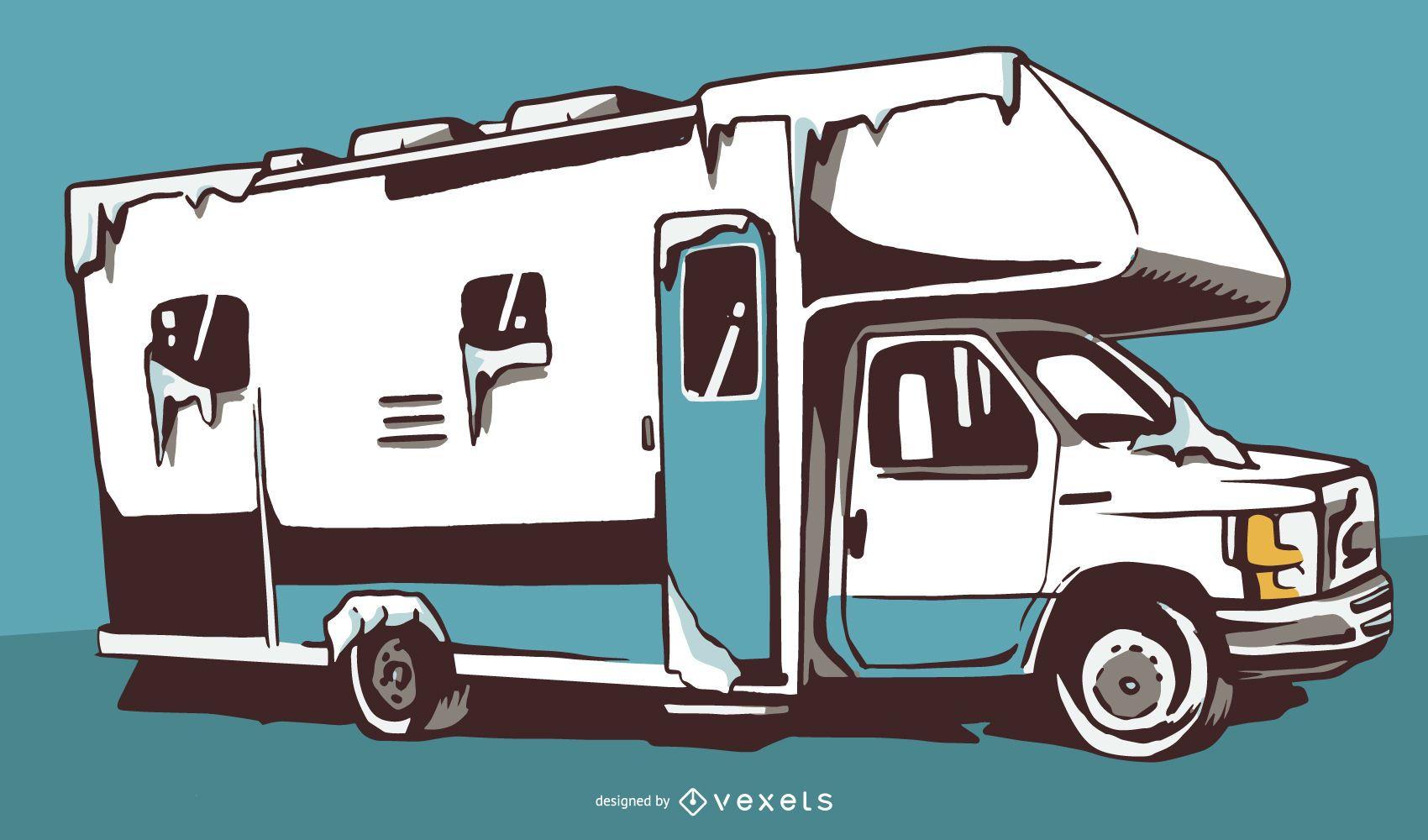 Diseño de ilustración de RV de nieve