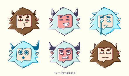 Conjunto colorido de yeti emoji