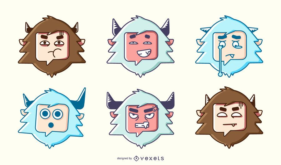 Yeti emoji colorful set