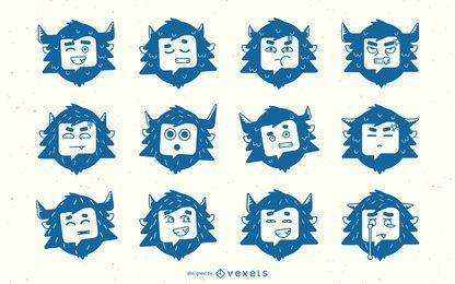 Colección de silueta de yeti emoji
