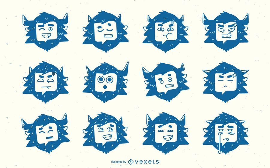 Coleção de silhueta de emoji yeti