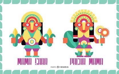 Conjunto de diseño plano de dioses inca # 1