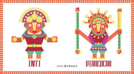 Conjunto de diseño plano de dioses inca # 2
