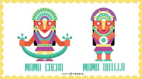 Conjunto de diseño plano de dioses inca # 3