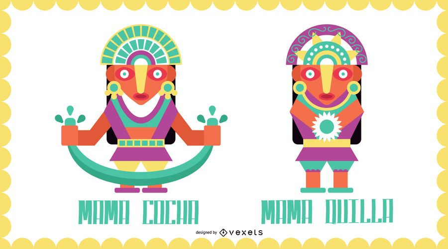 Inca Gods Flat Design Set #3