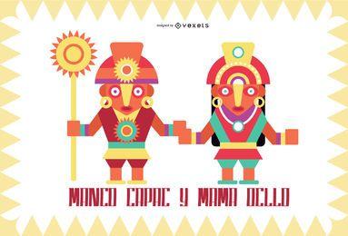 Conjunto de diseño plano de dioses inca # 4