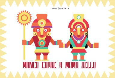 Inca Gods Flat Design Set #4