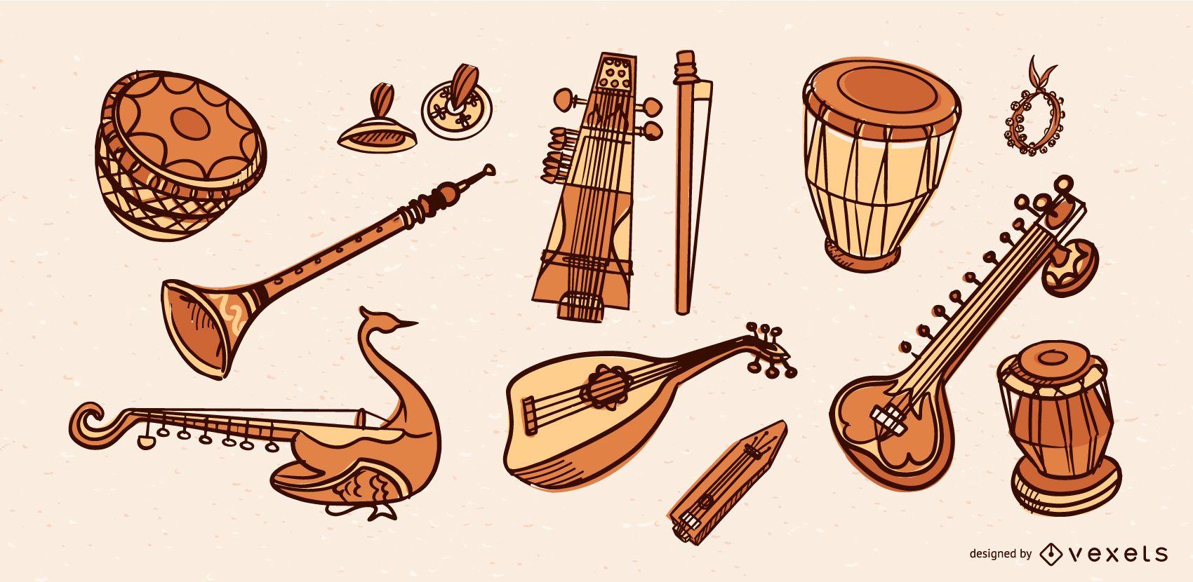 Paquete de vectores de instrumentos musicales de India
