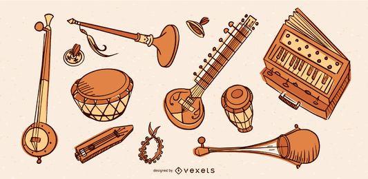 Colección de instrumentos musicales de la India