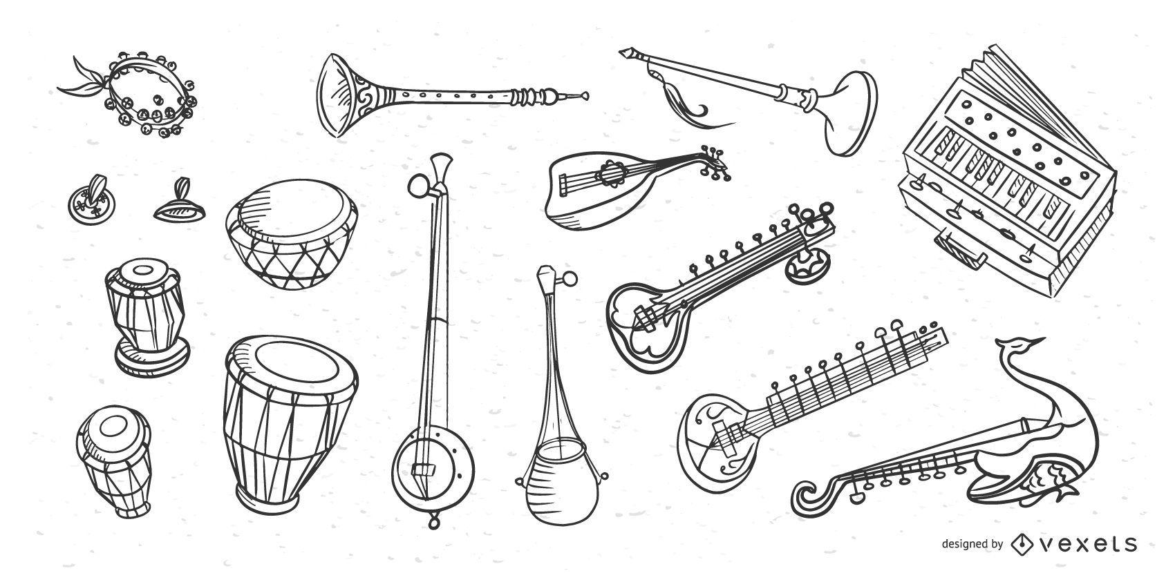 Garabatos de instrumentos musicales de India