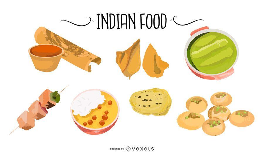 Conjunto de vetores de comida indiana
