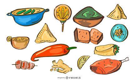 Conjunto dibujado a mano comida india
