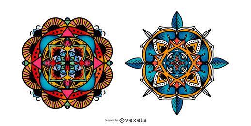 Indischer Mandala-Vektor-Satz