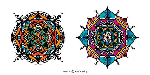 Conjunto colorido mandala indio