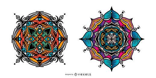 Conjunto de mandala indiana colorida