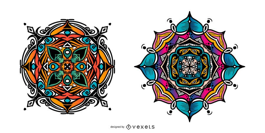 Colorful indian mandala set