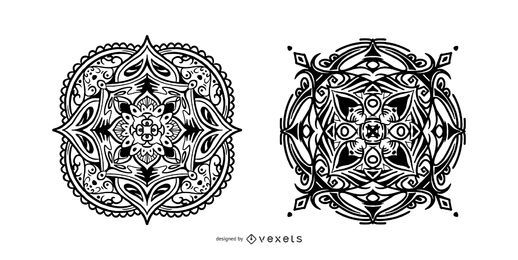 Indian mandalas stroke set