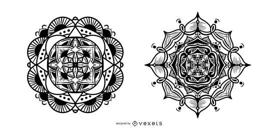 Stroke indian mandalas set