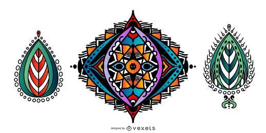 Conjunto de vectores coloridos mandalas indios