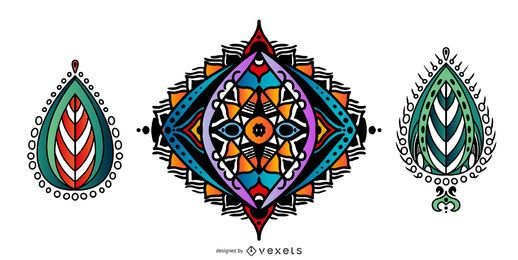 Indian Mandalas colorful vector set