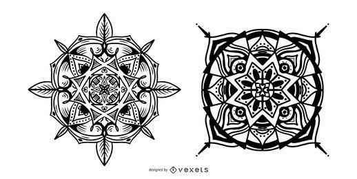Indian mandalas stroke vector set