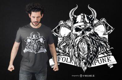 Diseño de camiseta de vikingo barbudo