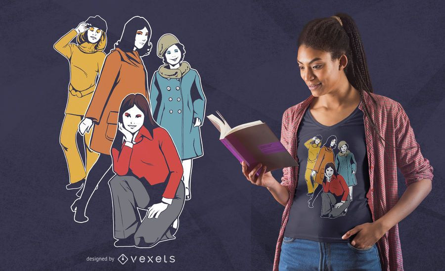 Diseño de camiseta para niñas de los 60