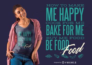 Design de t-shirt de comida de amor