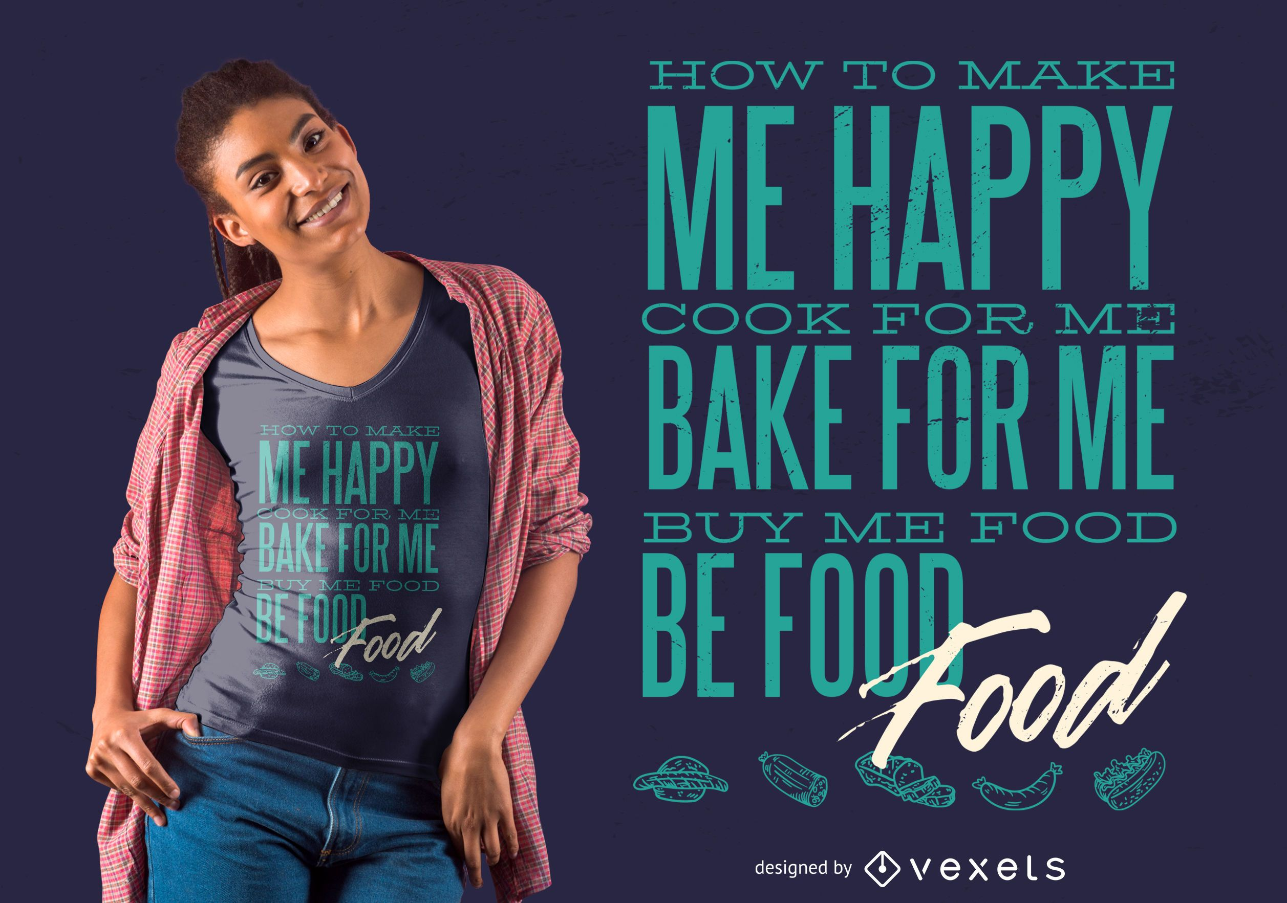 Diseño de camiseta Love Food
