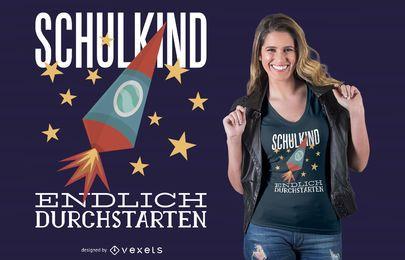 Projeto alemão do t-shirt do miúdo da escola