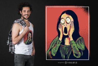 Diseño de camiseta de dibujos animados Mona Lisa