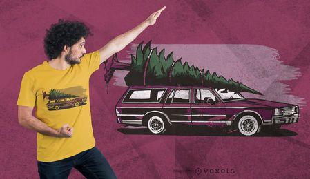 Weihnachtsauto-Baum-T-Shirt Entwurf