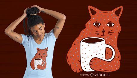 Diseño de camiseta de café y gato