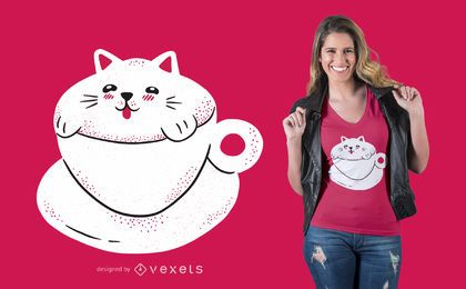 Cute Cat Coffee T-shirt Desgin