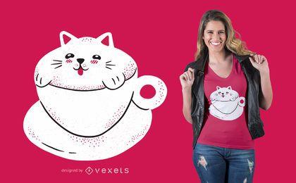 Diseño lindo de la camiseta del café del gato