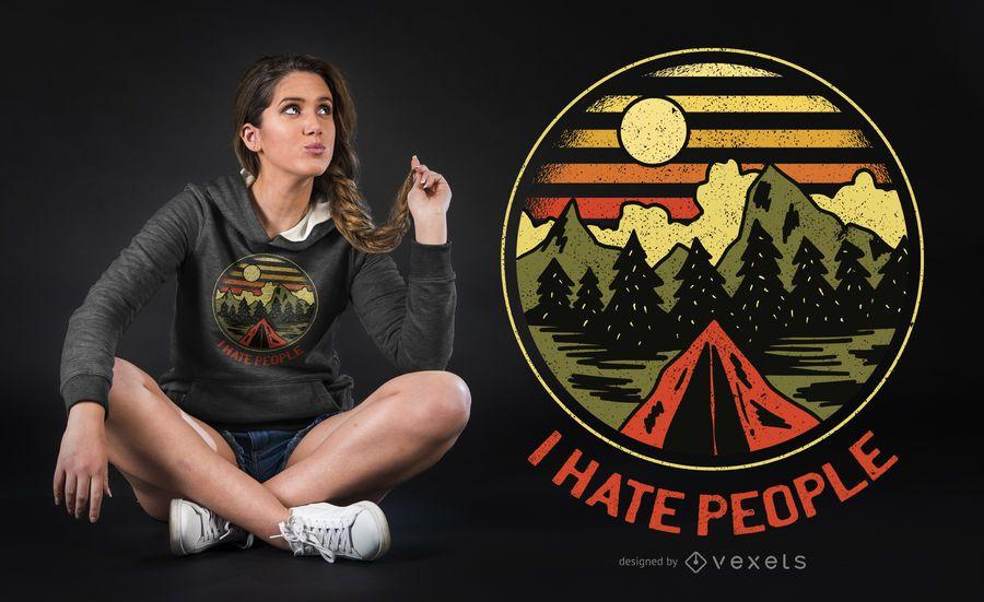 Diseño de camiseta de odio a la gente
