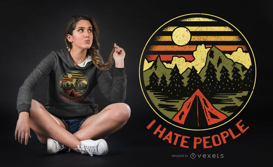 Hate People T-shirt Design