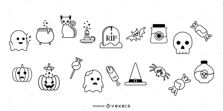 Halloween Stroke Icon Set