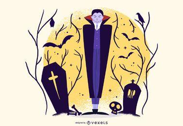 Ilustração de desenhos animados de vampiro de Halloween