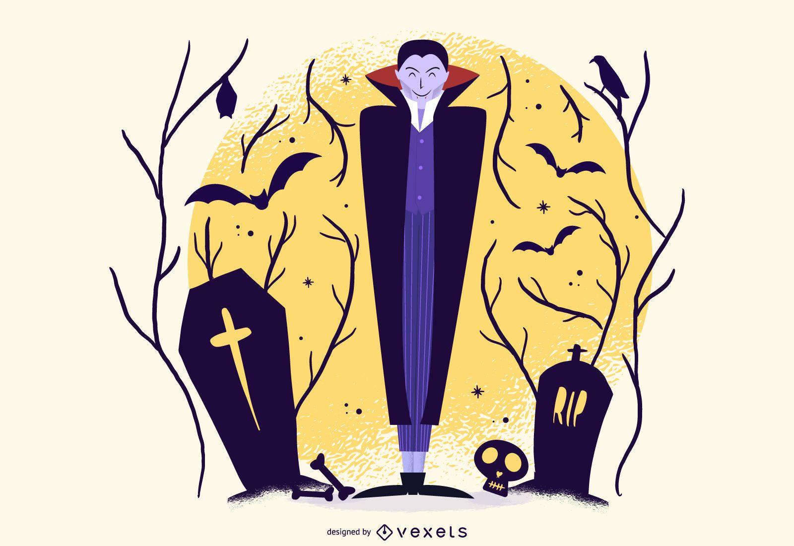 Ilustracao De Desenhos Animados De Vampiro De Halloween Baixar Vector