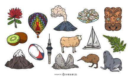 Elementos dibujados a mano de Nueva Zelanda