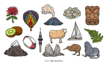 New Zealand hand drawn elements